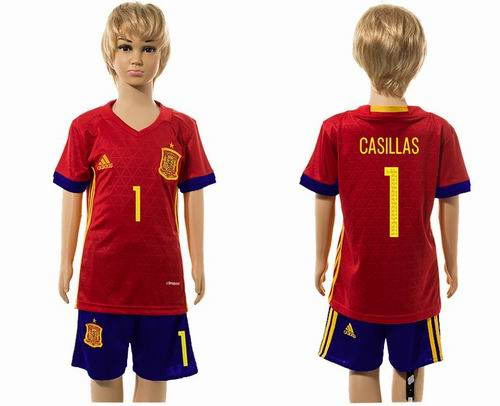 Youth 2016 European Cup series Spain home #1 casillas soccer jerseys