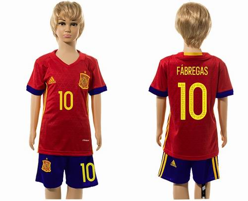 Youth 2016 European Cup series Spain home #10 fabregas soccer jerseys