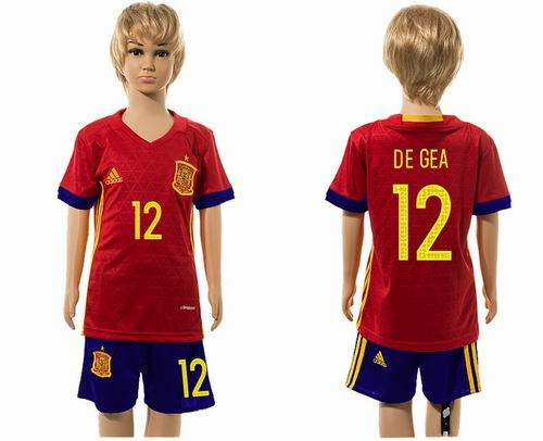 Youth 2016 European Cup series Spain home #12 de gea soccer jerseys
