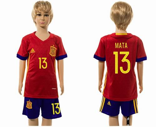 Youth 2016 European Cup series Spain home #13 mata soccer jerseys