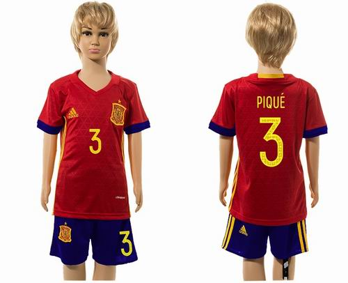 Youth 2016 European Cup series Spain home #3 Pique soccer jerseys