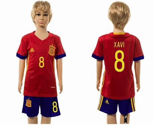 Youth 2016 European Cup series Spain home #8 xavi soccer jerseys