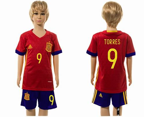 Youth 2016 European Cup series Spain home #9 Torres soccer jerseys