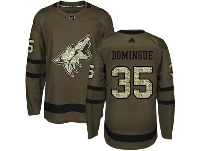 Youth Adidas Phoenix Coyotes #35 Louis Domingue Green Salute to Service NHL Jersey