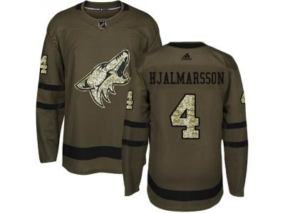 Youth Adidas Phoenix Coyotes #4 Niklas Hjalmarsson Green Salute to Service NHL Jersey