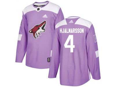 Youth Adidas Phoenix Coyotes #4 Niklas Hjalmarsson Purple Authentic Fights Cancer Stitched NHL Jersey