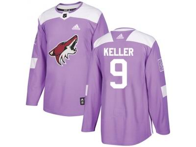 Youth Adidas Phoenix Coyotes #9 Clayton Keller Purple Authentic Fights Cancer Stitched NHL Jersey