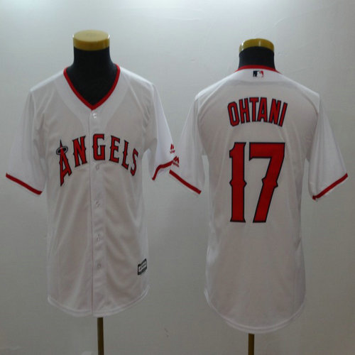 Youth Angels #17 Shohei Ohtani White Youth Cool Base Jersey