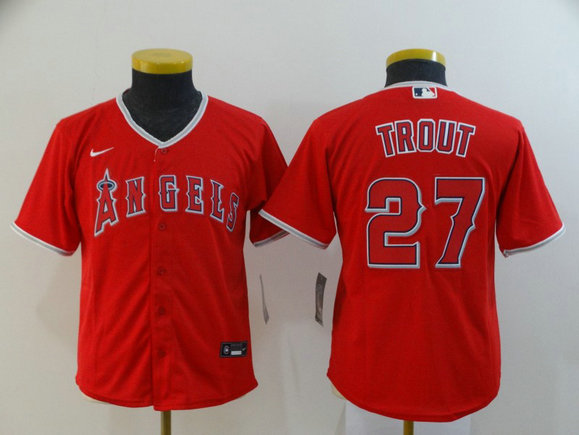Youth Angels 27 Mike Trout Red Youth 2020 Nike Cool Base Jersey