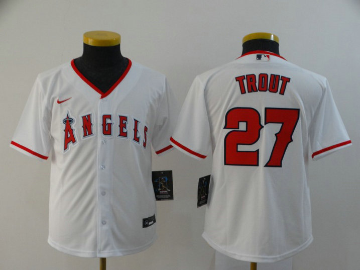 Youth Angels 27 Mike Trout White Youth 2020 Nike Cool Base Jersey
