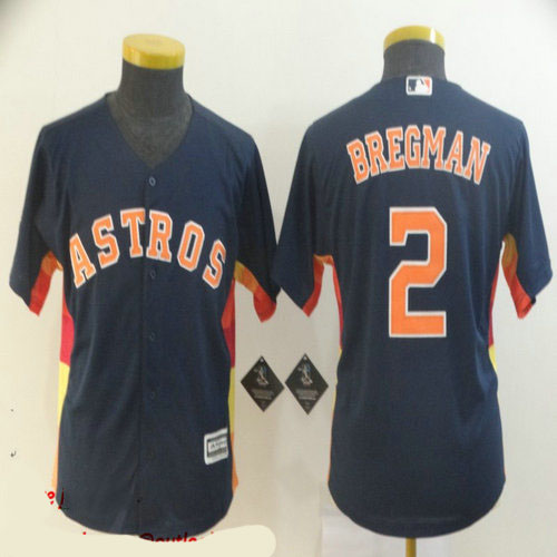 Youth Astros 2 Alex Bregman Navy Youth Cool Base Jersey