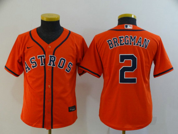 Youth Astros 2 Alex Bregman Orange Youth 2020 Nike Cool Base Jersey