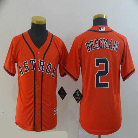 Youth Astros 2 Alex Bregman Orange Youth Cool Base Jersey