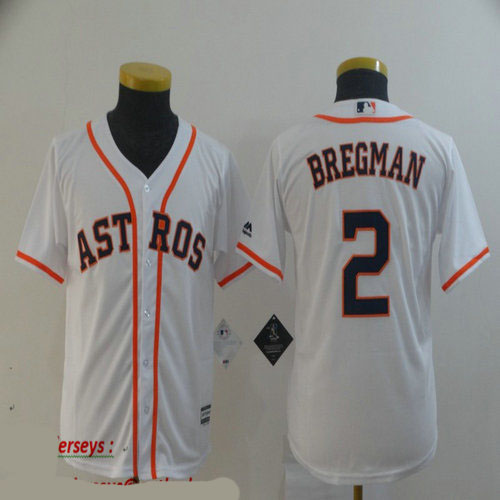 Youth Astros 2 Alex Bregman White Youth Cool Base Jersey