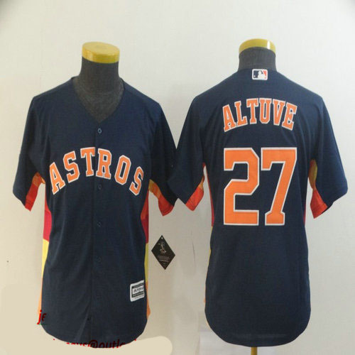 Youth Astros 27 Jose Altuve Navy Youth Cool Base Jersey