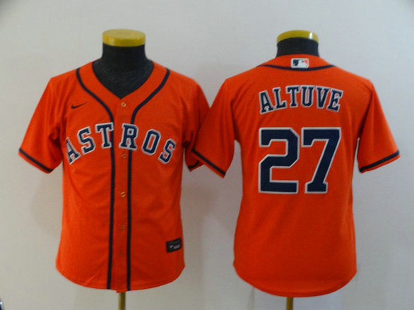 Youth Astros 27 Jose Altuve Orange Youth 2020 Nike Cool Base Jersey