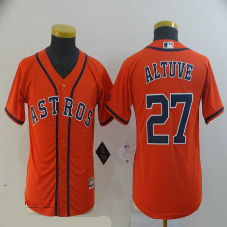 Youth Astros 27 Jose Altuve Orange Youth Cool Base Jersey
