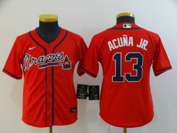 Youth Braves 13 Ronald Acuna Jr. Red Youth 2020 Nike Cool Base Jersey