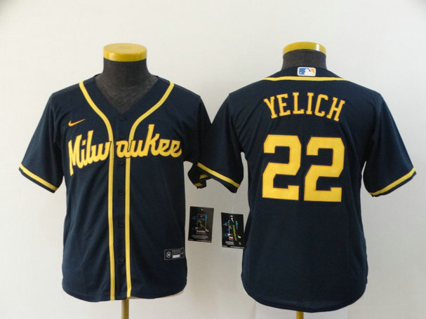 Youth Brewers 22 Christian Yelich Navy Youth Nike 2020 Cool Base Jersey