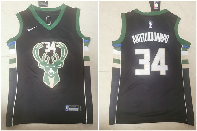 Youth Bucks 34 Giannis Antetokounmpo Black Youth Nike Swingman Jersey