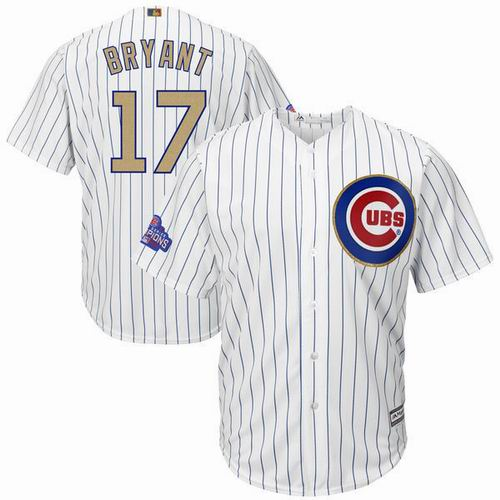 Youth Chicago Cubs #17 Kris Bryant White 2017 Gold Program 2016 World Series Champions Jersey