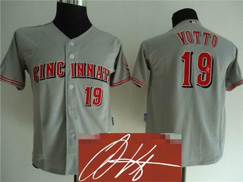 Youth Cincinnati Reds #19 Joey Votto grey signature jerseys