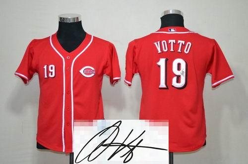 Youth Cincinnati Reds #19 Joey Votto red signature jerseys
