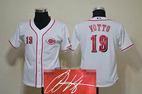 Youth Cincinnati Reds #19 Joey Votto white signature jerseys