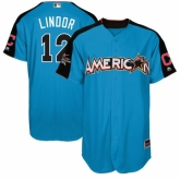Youth Cleveland Indians #12 Francisco Lindor Blue American League 2017 MLB All-Star MLB Jersey