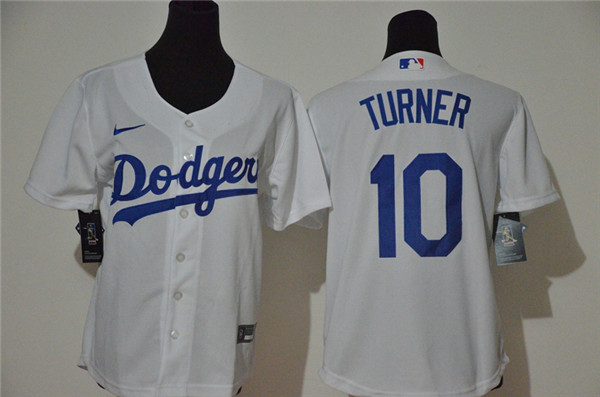 Youth Dodgers 10 Justin Turner White Youth 2020 Nike Cool Base Jersey