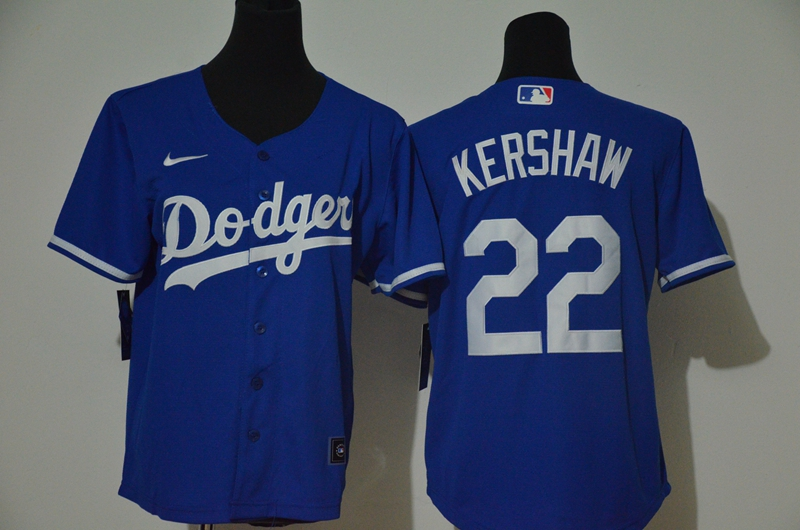 Youth Dodgers 22 Clayton Kershaw Royal Youth Nike Cool Base Jersey