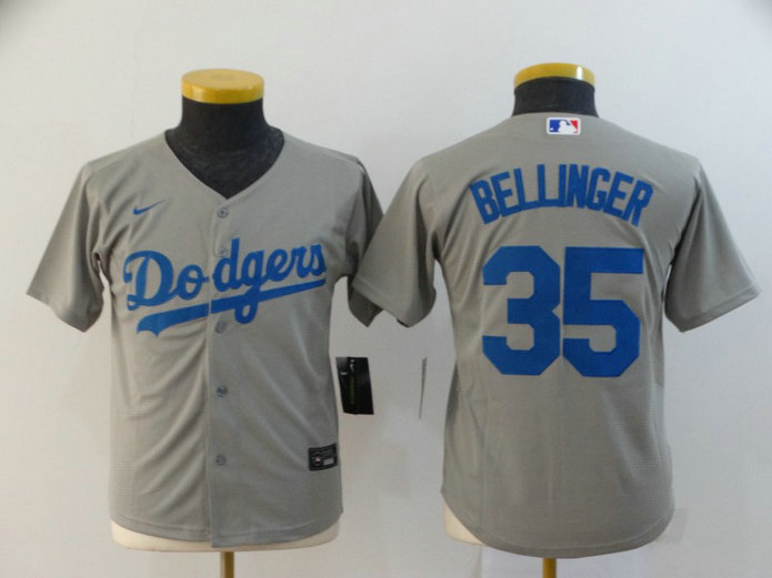 Youth Dodgers 35 Cody Bellinger Gray Youth 2020 Nike Cool Base Jersey