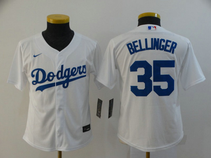 Youth Dodgers 35 Cody Bellinger White Youth 2020 Nike Cool Base Jersey
