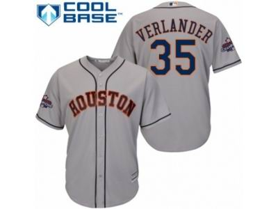 Youth Houston Astros #35 Justin Verlander Grey Road 2017 World Series Champions Cool Base MLB Jersey