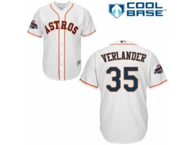 Youth Houston Astros #35 Justin Verlander Replica White Home 2017 World Champions Cool Base MLB Jersey