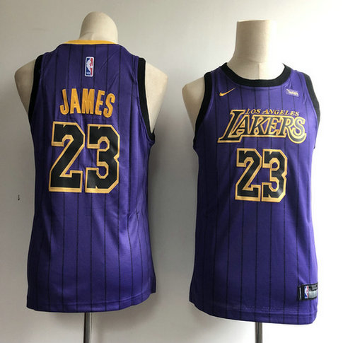 Youth Lakers 23 Lebron James Purple Youth 2018-19 City Edition Nike Swingman Jersey