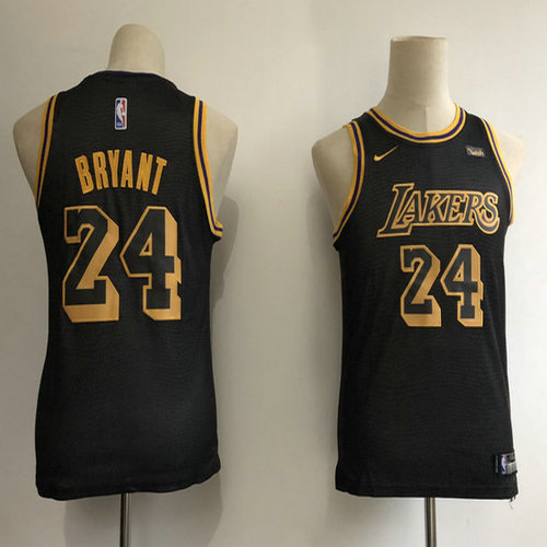 Youth Lakers 24 Kobe Bryant Black 2018-19 City Edition Youth Nike Swingman Jersey