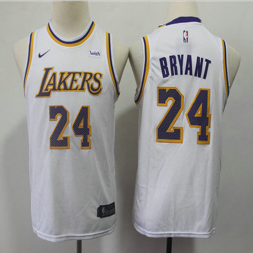 Youth Lakers 24 Kobe Bryant White 2018-19 Youth Nike Swingman Jersey