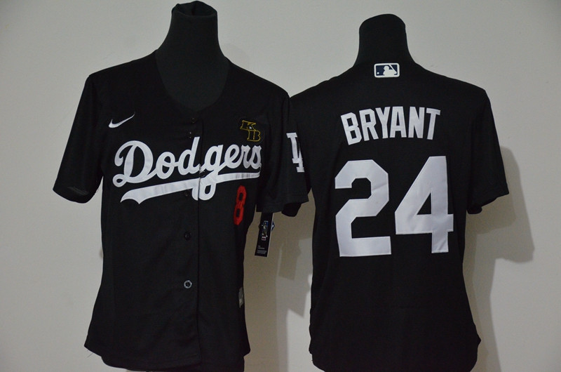 Youth Los Angeles Dodgers #8 #24 Kobe Bryant Youth Nike Black Cool Base 2020 KB Patch MLB Jersey1
