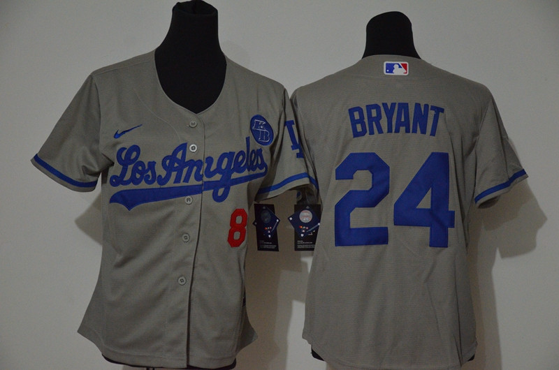 Youth Los Angeles Dodgers #8 #24 Kobe Bryant Youth Nike Grey Cool Base 2020 KB Patch MLB Jersey1