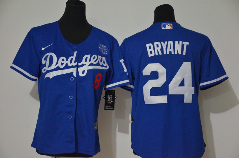 Youth Los Angeles Dodgers #8 #24 Kobe Bryant Youth Nike Royal Cool Base 2020 KB Patch MLB Jersey1