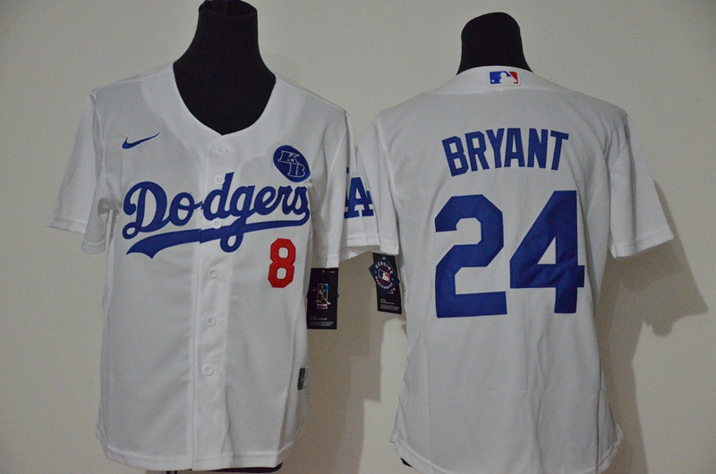 Youth Los Angeles Dodgers #8 #24 Kobe Bryant Youth Nike White Cool Base 2020 KB Patch MLB Jersey1