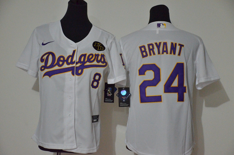 Youth Los Angeles Dodgers #8 #24 Kobe Bryant Youth Nike White Purple No. Cool Base 2020 KB Patch MLB Jersey