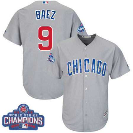 Youth Majestic Chicago Cubs #9 Javier Baez Authentic Grey Road 2016 World Series Champions Cool Base MLB Jersey