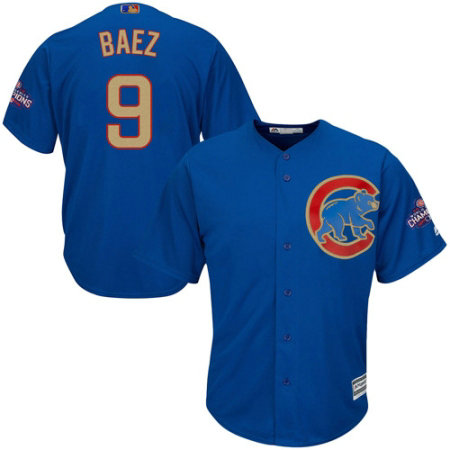 Youth Majestic Chicago Cubs #9 Javier Baez Authentic Royal Blue 2017 Gold Champion Cool Base MLB Jersey