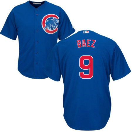 Youth Majestic Chicago Cubs #9 Javier Baez Authentic Royal Blue Alternate Cool Base MLB Jersey