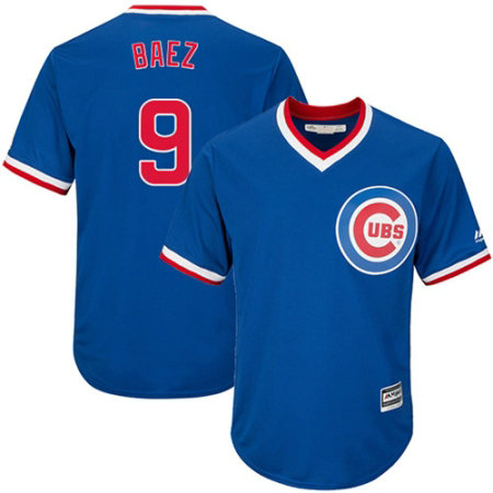 Youth Majestic Chicago Cubs #9 Javier Baez Authentic Royal Blue Cooperstown Cool Base MLB Jersey