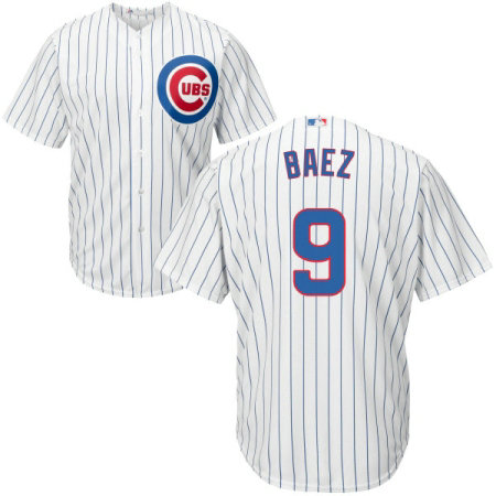 Youth Majestic Chicago Cubs #9 Javier Baez Replica White Home Cool Base MLB Jersey