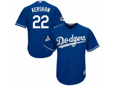 Youth Majestic Los Angeles Dodgers #22 Clayton Kershaw Replica Royal Blue Alternate 2017 World Series Bound Cool Base MLB Jersey
