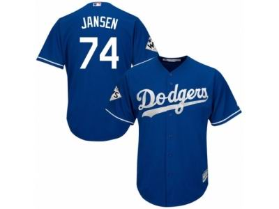 Youth Majestic Los Angeles Dodgers #74 Kenley Jansen Replica Royal Blue Alternate 2017 World Series Bound Cool Base MLB Jersey